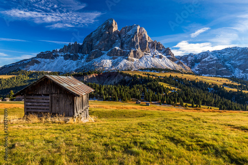 Fotografie, Tablou Stunning view of Peitlerkofel mountain from Passo delle Erbe in Dolomites, Italy