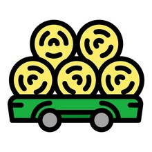 Wheat Roll Trailer Icon. Outli...
