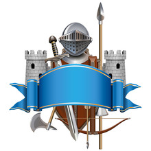 Vector Blue Banner With Knight...