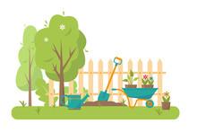 Gardening Tools And Trees In Garden.