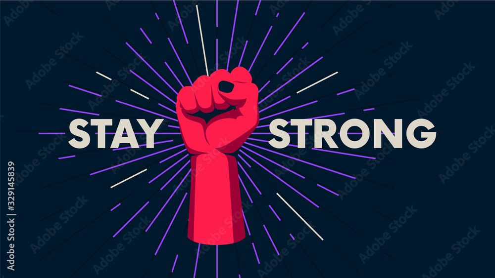 Fototapeta Gesture of a human hand against the background of the sunburst, movement of the fingers, motivating vector poster with the slogan Stay Strong