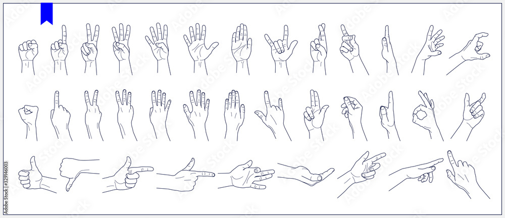 Fototapeta Set of contours of human hands, signs and gestures isolated vector illustrations on a white background