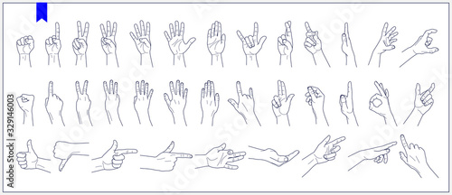 Obraz Set of contours of human hands, signs and gestures isolated vector illustrations on a white background - fototapety do salonu