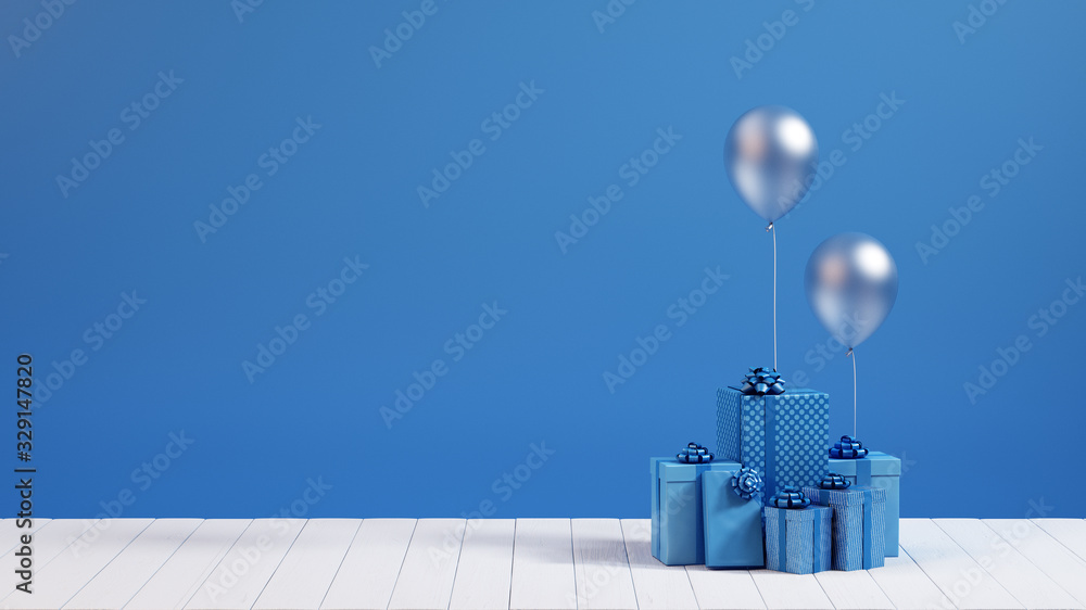 Fototapeta 3d render blue gift box
