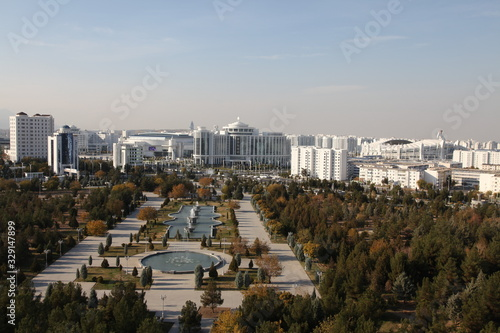 Panoramic view of Ashgabat, the capital of Turkmenistan in Central Asia Wallpaper Mural