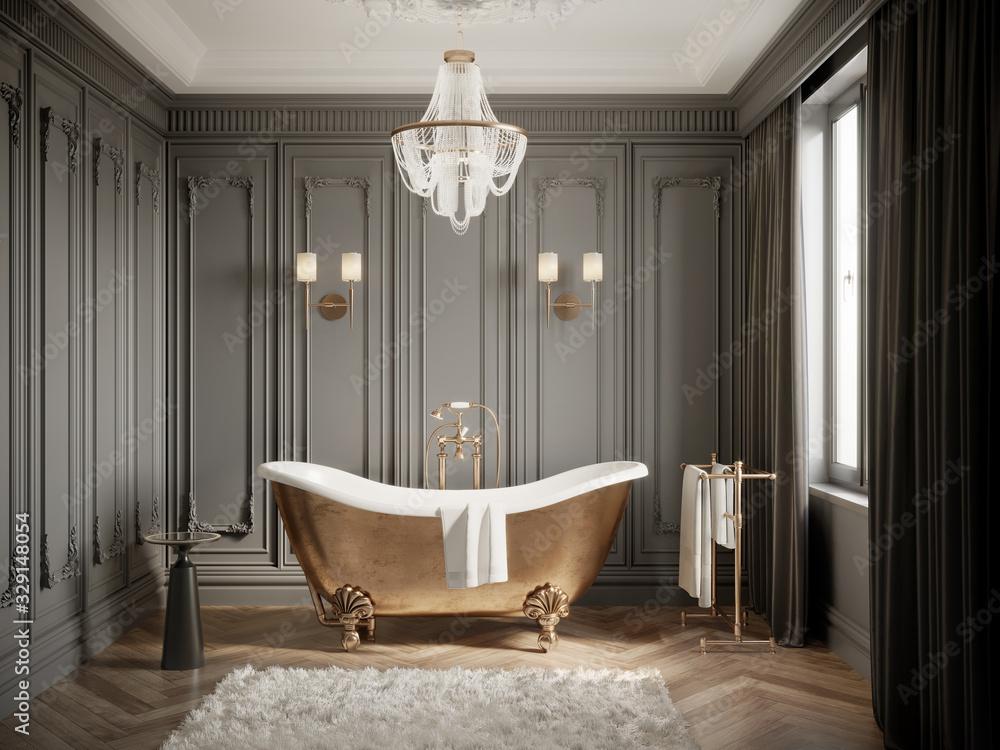 Fototapeta 3d Classic grey bathtoom with brass vintage barhtub and a chandelier