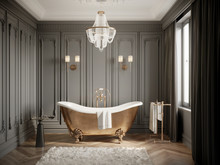 3d Classic Grey Bathtoom With ...