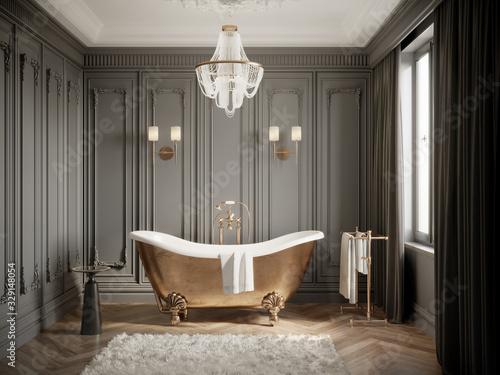 3d Classic grey bathtoom with brass vintage barhtub and a chandelier Fototapet