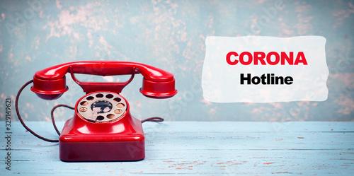 Corona Hotline - rotes Telefon Canvas Print