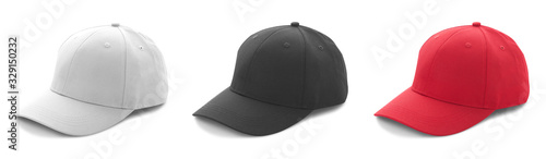 Cuadros en Lienzo Blank white, black and red baseball cap mockup template isolated, clipping path