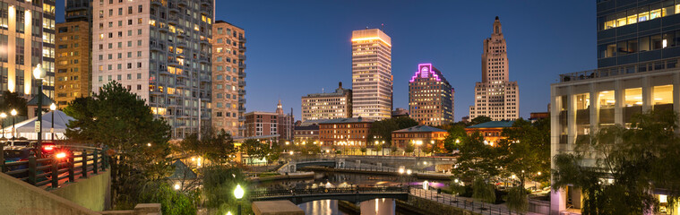 Downtown panoramic city view over the Woonasquatucket River canal in Providence Rhode Island USA