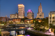 Downtown City View Over The Woonasquatucket River Canal In Providence Rhode Island USA