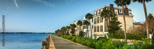 Charleston South Carolina panoramic row of old historic federal style houses on Canvas Print