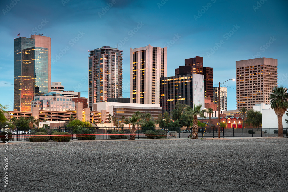 Fototapeta Cityscape skyline view of office buildings and apartment condominiums in downtown Phoenix Arizona USA