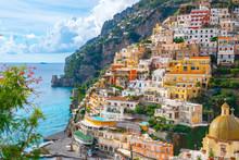 Beautiful Landscape With Positano Town At Famous Amalfi Coast, Italy