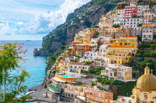 Beautiful Landscape with Positano town at famous amalfi coast, Italy Canvas Print