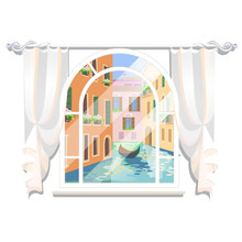 Sketch Of A Poster In The Style Of Venice. View Of The City River From The Window With A Floating Boat Isolated On White Background. Vector Cartoon Close-up Illustration.