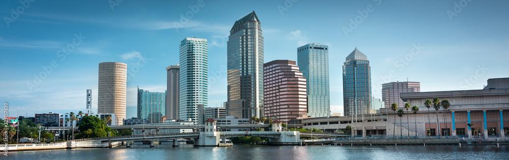 Fototapeta Downtown city panoramic skyline view of Tampa Florida USA looking over the Hillsborough Bay and the Riverwalk