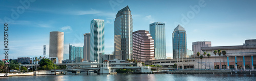 Fototapeta Downtown city panoramic skyline view of Tampa Florida USA looking over the Hillsborough Bay and the Riverwalk obraz