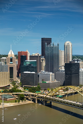 City skyline view over the Allegheny River and Roberto Clemente Bridge in downto Canvas Print