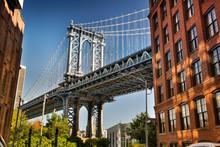Manhattan Bridge As Seen From The DUMBO Area Of Brooklyn New York USA