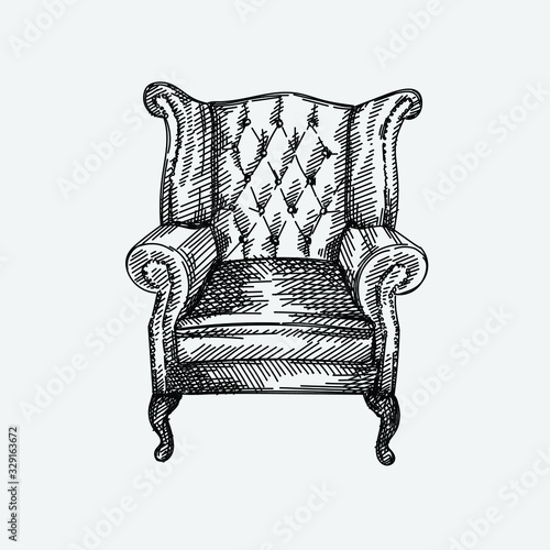Photo Hand-drawn sketch of Chesterfield leather armchair with quilted backrest