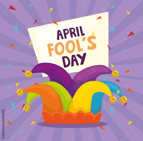Obraz na plátne april fools day with hat buffoon vector illustration design