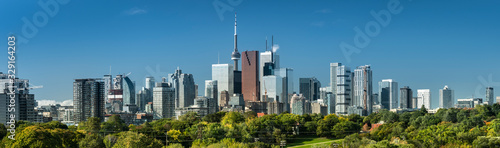 Downtown Toronto Canada cityscape skyline view over Riverdale Park in Ontario, C Canvas Print