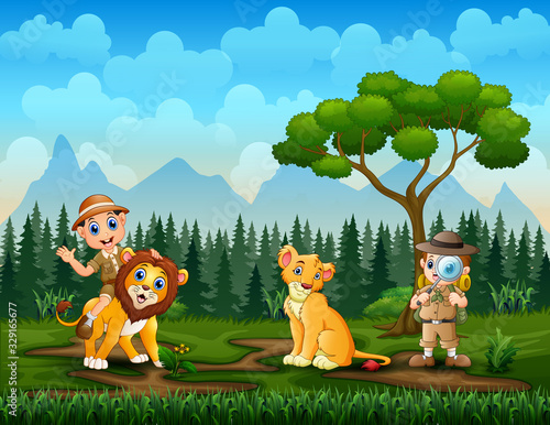 Zookeeper boys and lions in the park zoo