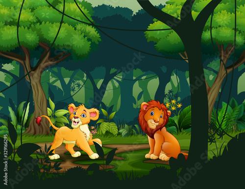 Wild lions in the jungle scene