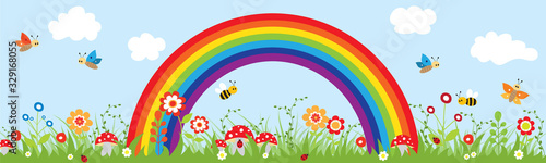 Fotografie, Obraz Beautiful sky with a rainbow and nature.