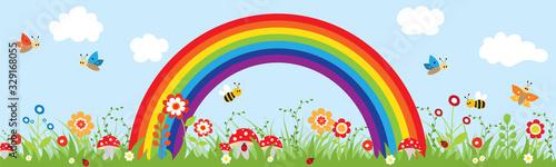 Fototapeta Beautiful sky with a rainbow and nature. obraz