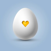 Cute White Egg With A Yellow H...