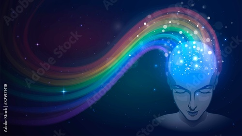 Fotografia Human head in space and rainbow, concept of imagination and dream