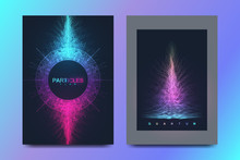 Modern Vector Template For Brochure, Leaflet, Flyer, Cover, Banner, Catalog, Magazine, Annual Report. Quantum Technology. Futuristic Explosion Design. Big Data Visualization. Artificial Intelligence
