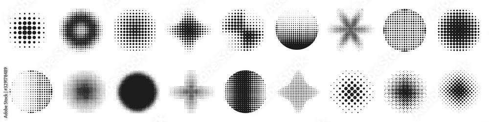 Fototapeta Halftone effect design elements. Halftone shapes