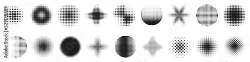 Fototapeta Halftone effect design elements. Halftone shapes obraz