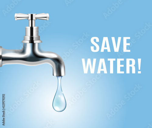 Foto Save Water Realistic Poster