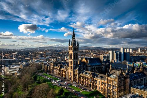 Glasgow city skyline from Kelvingrove Park