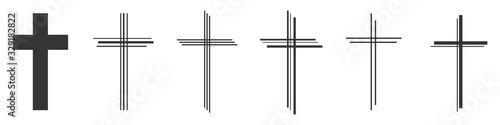 Fotografie, Obraz Set of Christian Cross vector icons.