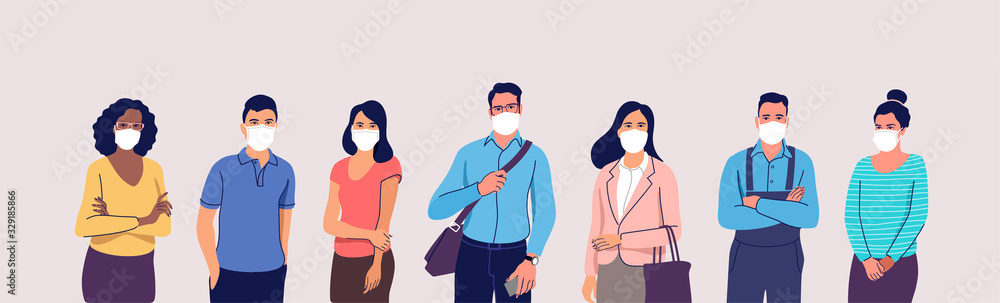 Fototapeta People in protective medical face masks. Man and women wearing protection from virus, urban air pollution, smog, vapor, pollutant gas emission. Vector illustration.