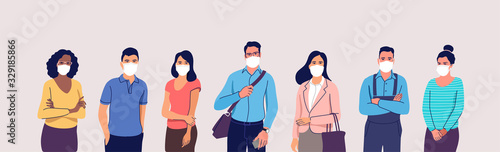 Obraz People in protective medical face masks. Man and women wearing protection from virus, urban air pollution, smog, vapor, pollutant gas emission. Vector illustration. - fototapety do salonu