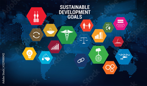 Fototapeta SDG - Sustainable Development Goals - Vector banner, long-term project the united nations. 17 aspects in 17 colorful icons. Sustainable Development Goals. Transformation of our world. SDG infographic obraz