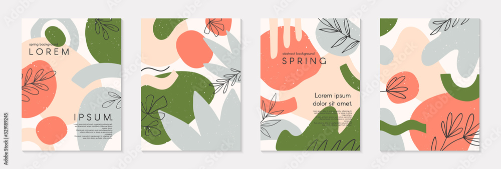 Fototapeta Set of spring vector collages with hand drawn organic shapes and textures in pastel colors.Trendy contemporary design perfect for prints,flyers,banners,invitations,branding design,covers and more
