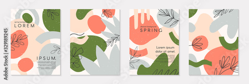 Set of spring vector collages with hand drawn organic shapes and textures in pastel colors.Trendy contemporary design perfect for prints,flyers,banners,invitations,branding design,covers and more