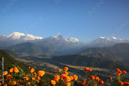 View from Sarangkot towards the Annapurna Conservation Area & the Annapurna range of the Himalayas, Nepal Wallpaper Mural