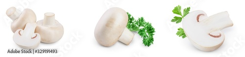Fotografie, Tablou Fresh mushrooms champignon isolated on white background with clipping path and full depth of field