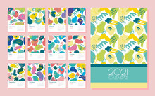Vector Calendar For 2021. Editable And Printable Template With Bright Abstract Elements: Paint Strokes, Stripes, Spots, Dots. Planner. Set Of 12 Vertical Sheets And A Cover.
