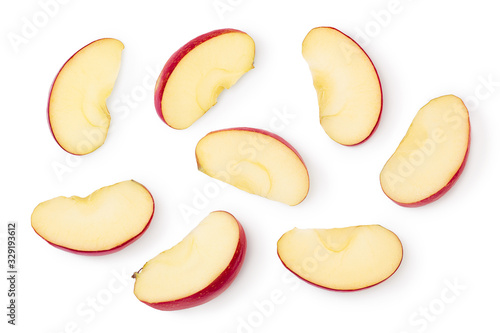 Fotografia Red apple slices isolated on white background with clipping path and full depth of field
