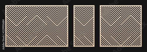 Obraz Laser cut panel set. Vector template with abstract geometric pattern, lines, stripes, chevron. Decorative stencil for laser cutting of wood, metal, plastic, decor element. Aspect ratio 3:2, 1:2, 1:1 - fototapety do salonu
